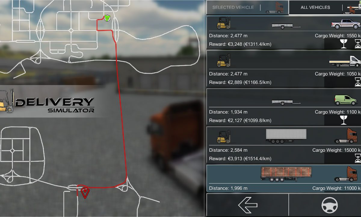 Delivery Simulator logistics mission selection